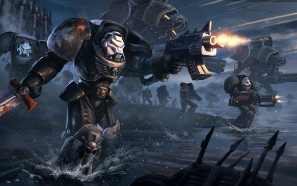 Фото обои оружие, бой, Warhammer, Black Templars, воины, выстрелы, силовая броня