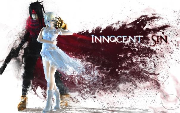 Фото обои девушка, оружие, арт, парень, плащ, final fantasy, kingdom hearts
