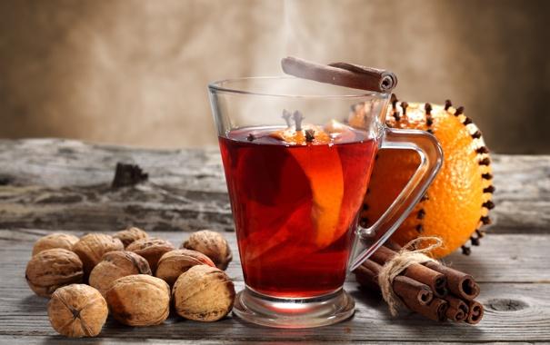 Фото обои зима, апельсин, чашка, напиток, орехи, корица, гвоздика