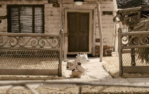 Фото обои дом, мультфильм, собачки, пластилиновый, мэри и макс