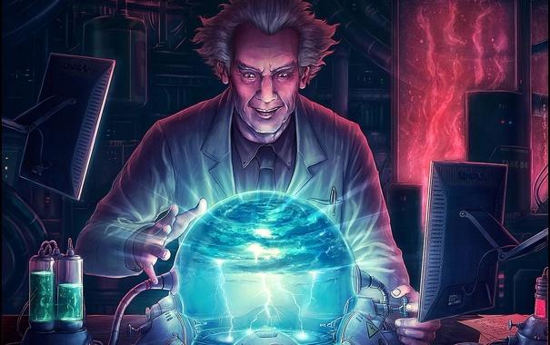 Фото обои молнии, сфера, лаборатория, халат, мониторы, профессор, dell
