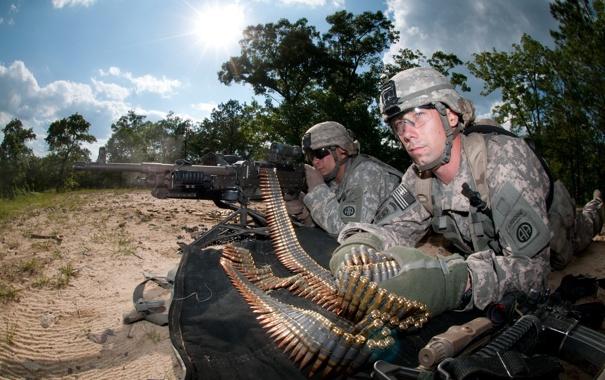 Фото обои оружие, солдаты, пулемёт