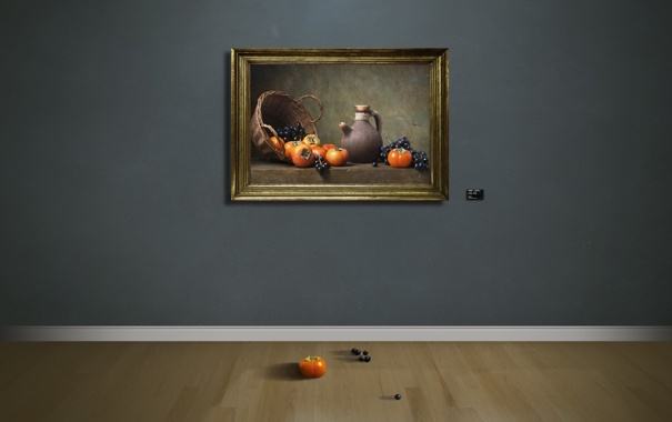 Фото обои стена, картина, пол