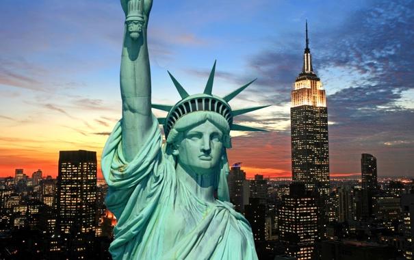 Фото обои ночь, city, город, lights, огни, Нью-Йорк, горизонт