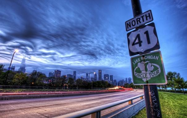 Фото обои город, знак, трасса, США, Chicago, Иллиноис