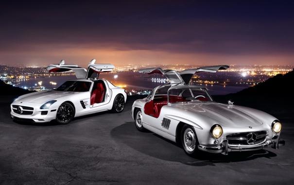 Фото обои фон, Mercedes-Benz, двери, Мерседес, панорама, AMG, SLS
