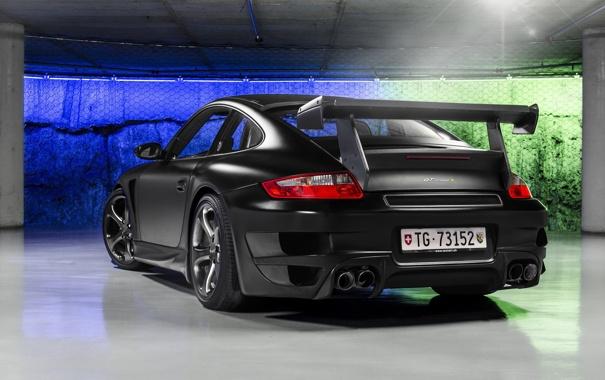 Фото обои черный, тюнинг, Porsche, суперкар, задок, Techart, Street R