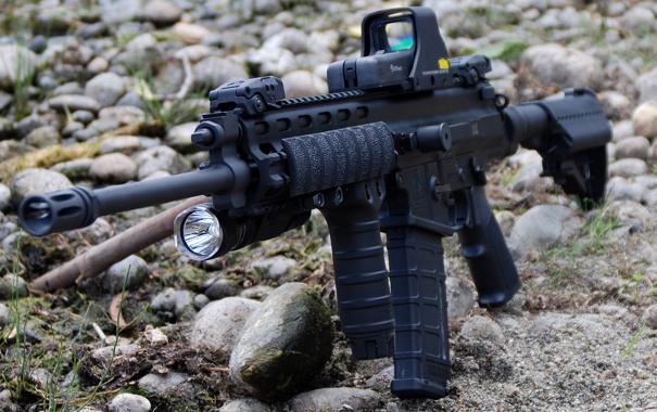 Фото обои оружие, автомат, камушки, XCR, Robinson Armaments