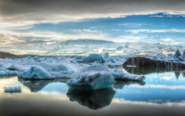 Фото обои лед, море, небо, облака, горы, айсберг, льдина