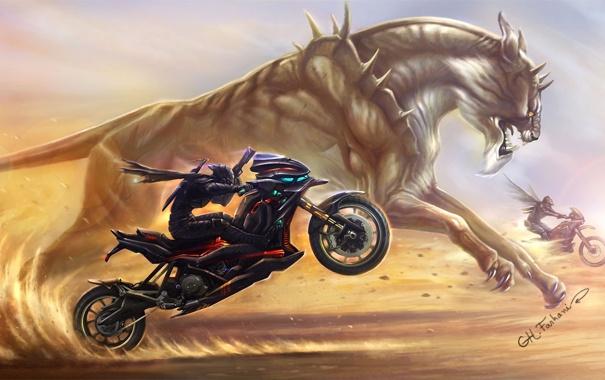 Фото обои песок, кошка, оружие, гонка, пустыня, крылья, монстр