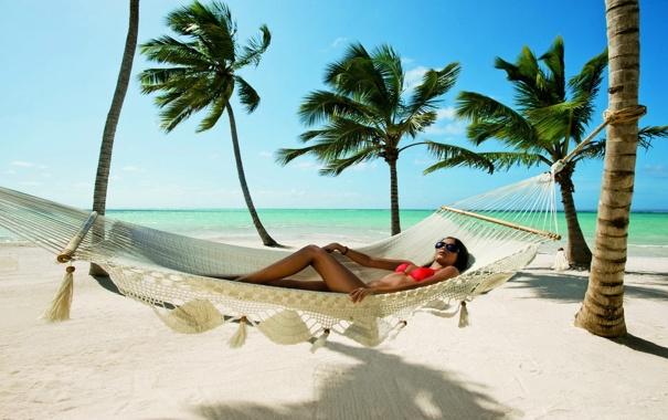 Фото обои песок, гамак, пляж, пальмы, океан