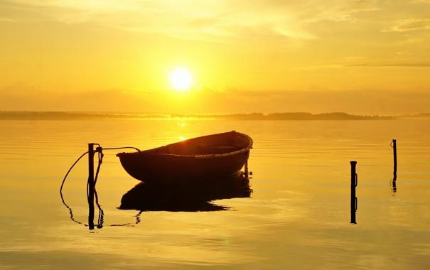 Фото обои река, лодка, утро