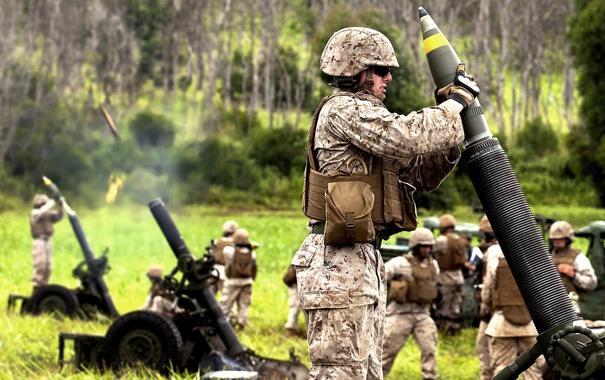 Фото обои солдаты, обстрел, миномёт, mortar, стволом, RT61, с нарезным