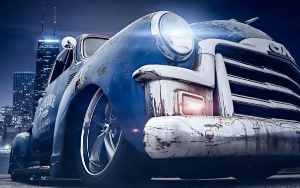 Фото обои night, stance, tuning, old car