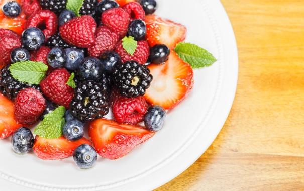 Фото обои ягоды, тарелка, ассорти