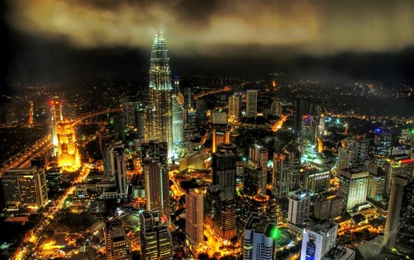 Фото обои ночь, город, высотки, малайзия, Куала-Лумпура, Патронас