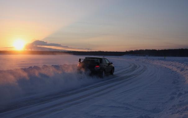 Фото обои зима, закат, машины, гонка