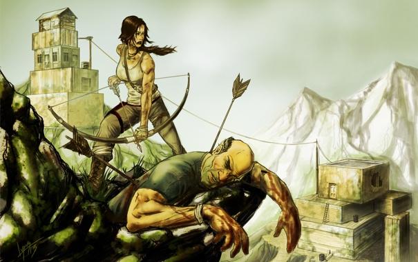 Фото обои девушка, мужик, арт, лара, Tomb Raider reborn contest