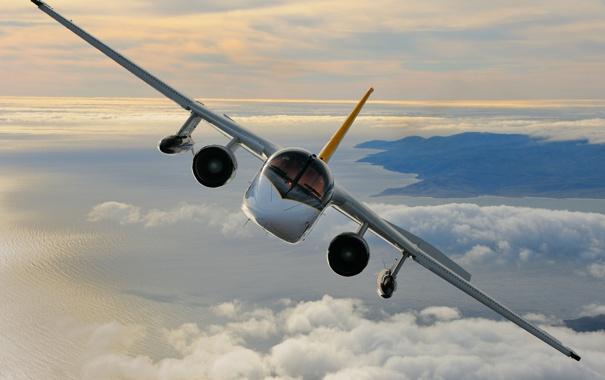 Фото обои облака, земля, полёт, самолёт