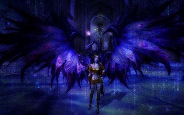 Фото обои взгляд, девушка, фантастика, голубое, цвет, крылья, статуя