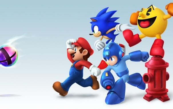 Фото обои pac-man, mario, sonic, mega man, smash bros