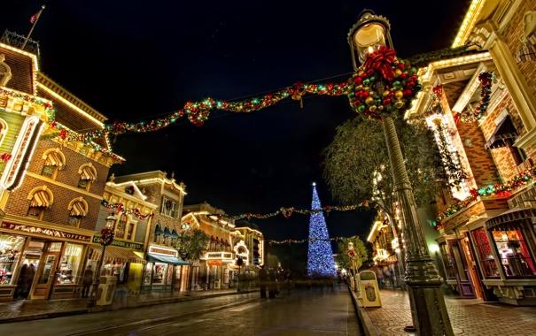 Фото обои ночь, город, дом, праздник, Новый Год, Рождество, Disney