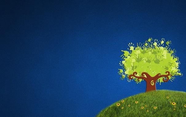 Фото обои зелень, трава, цветы, синий, зеленый, дерево, поляна