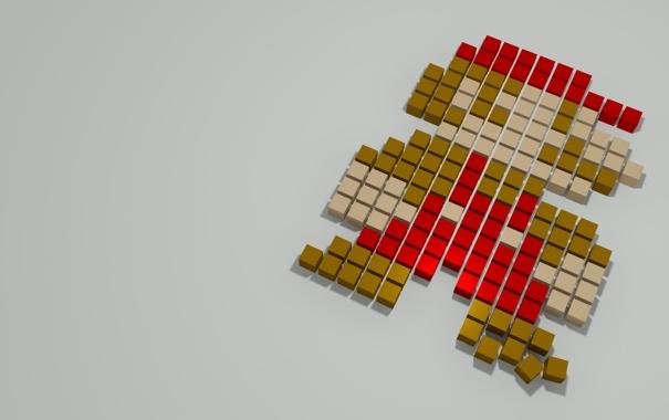Фото обои марио, пиксели, game, super mario, pixel boxes
