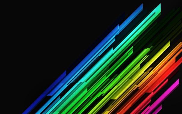 Фото обои текстуры, разноцветные линии, на чёрном фоне, стиль
