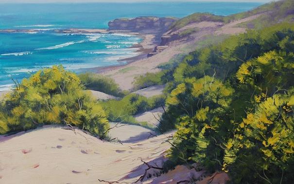 Фото обои песок, море, волны, природа, побережье, горизонт, кусты
