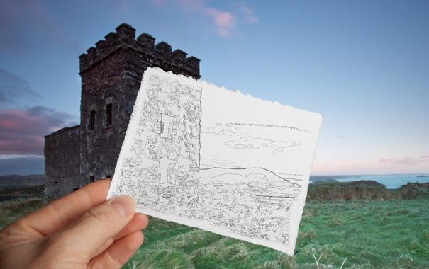 Фото обои море, трава, лист, замок, берег, рисунок, башня