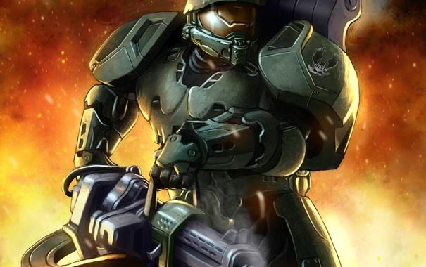 Фото обои костюм, автомат, шлем, броня, art, halo, spartan