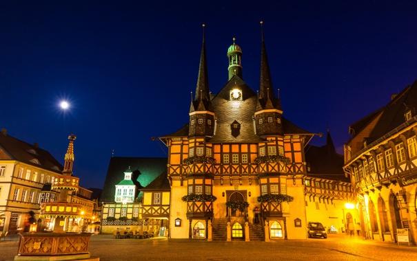 Фото обои ночь, огни, дома, сказка, Германия, площадь, фонтан
