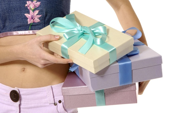 Фото обои настроение, животик, внимание, ленточки, Подарки