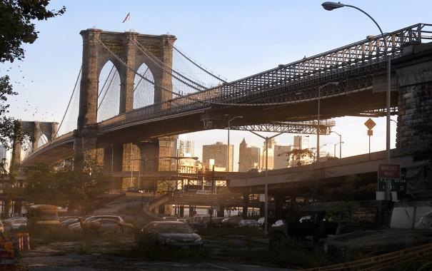 Фото обои мост, нью-йорк, постапокалипсис, карантин