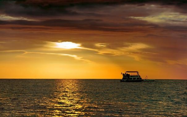 Фото обои море, небо, закат, корабль