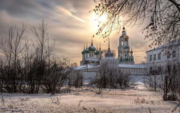 Фото обои зима, закат, Свято-Введенский Толгский женский монастырь