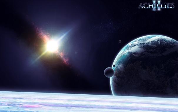 Фото обои планета, спутники, газовый гигант, Achilles2