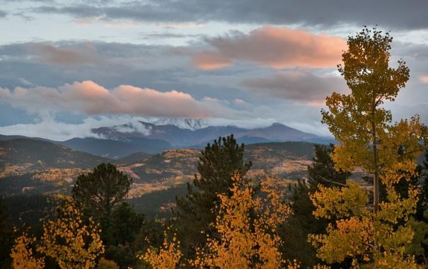 Фото обои природа, облака, осень, горы, деревья