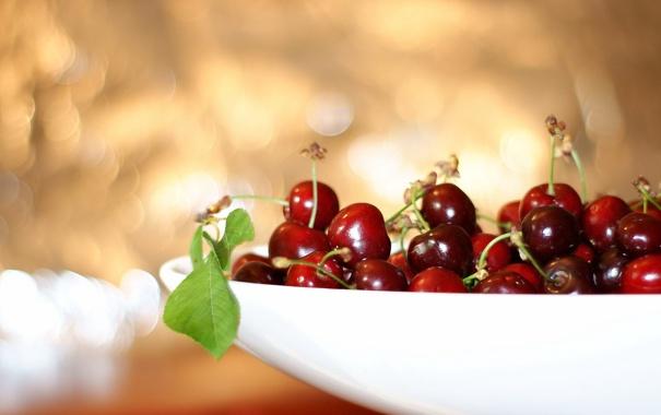 Фото обои вишня, макро, ягоды