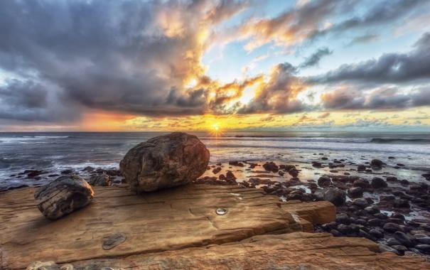 Фото обои море, пляж, небо, солнце, пейзаж, закат, природа