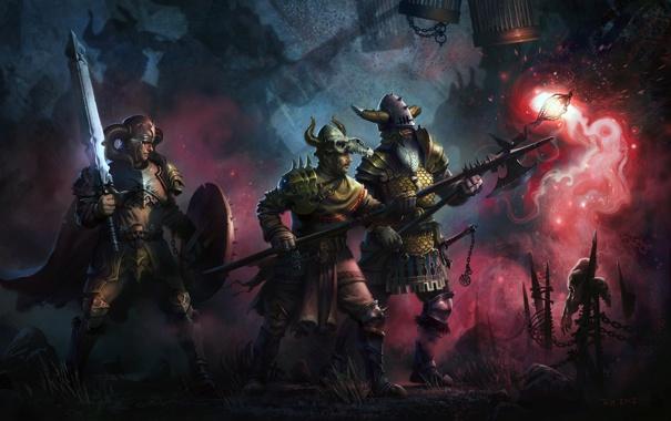 Фото обои оружие, люди, магия, арт, солдаты, воины