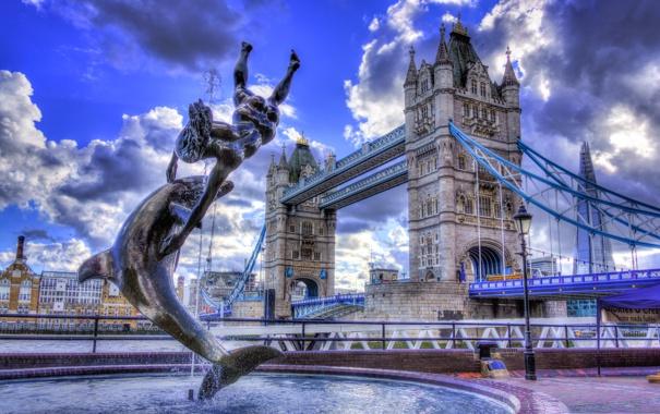 Фото обои небо, облака, мост, англия, лондон, hdr, фонтан