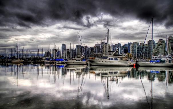 Фото обои облака, небо, вода, море, лодки, яхты, порт