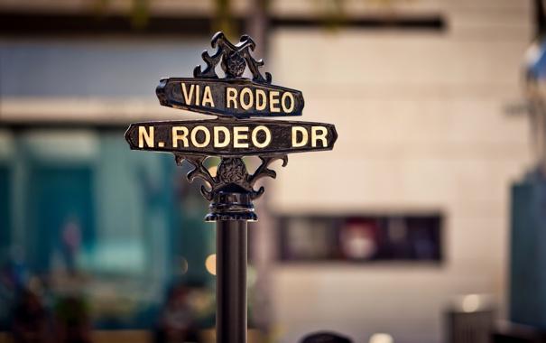 Фото обои city, город, California, Beverly Hills, штат Калифорния, Rodeo Drive sign, Rodeo Drive знак