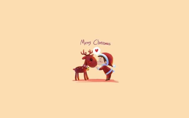 Фото обои олень, праздник, новый год, настроение, минимализм