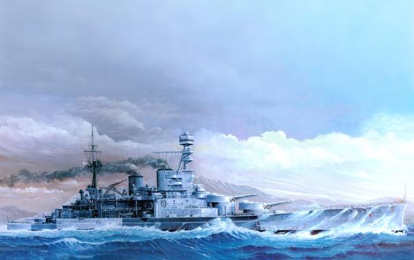 Фото обои рисунок, арт, HMS Repulse 1941