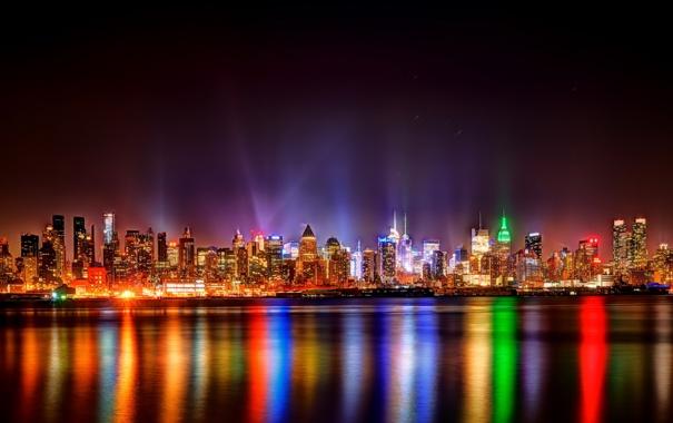Фото обои ночь, город, огни, New York City