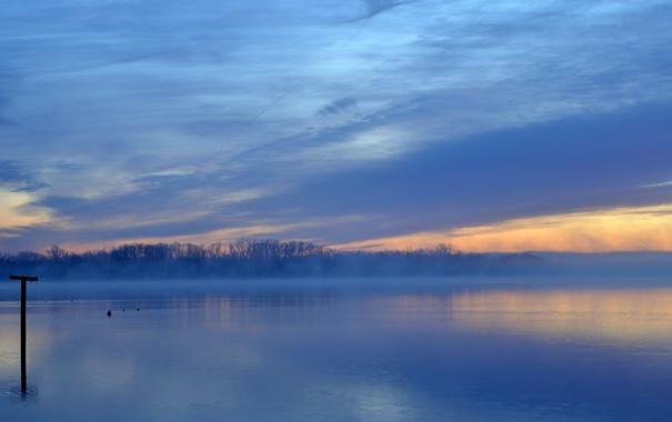Фото обои пейзаж, туман, озеро, прирорда