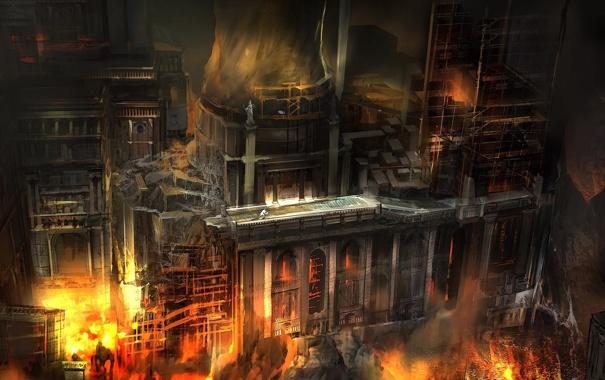 Фото обои ночь, город, пожар, огонь, здание, арт, ремонт